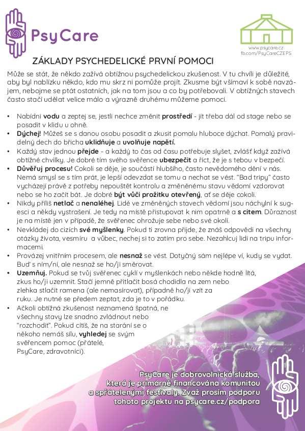 Základy psychedelické první pomoci a Pravidla bezpečného užívání